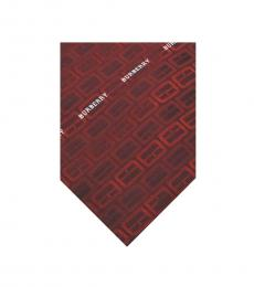 Burberry Red Maroon Silk Tie
