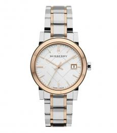 Burberry Silver Rose Gold Swiss Dial Watch