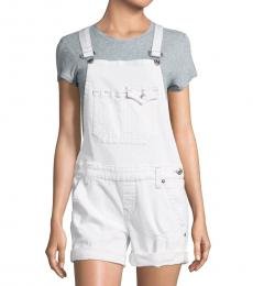 Optic White Distressed Crisscross Strap Overall