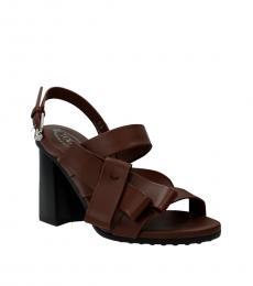 Brown Slingback Leather Heels