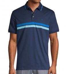 Calvin Klein Blue Striped Cotton Polo
