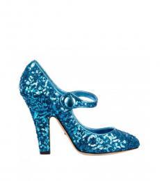 Blue Sequined Heels