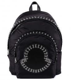 Moncler Black Rivets Logo Large Backpack