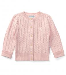 Ralph Lauren Baby Girls Pink Cable-Knit Cardigan