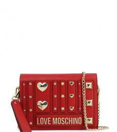 Love Moschino Red Metal Studs Small Crossbody