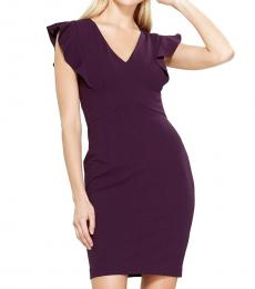 Dark Purple Ruffled Cap Sleeve Dress