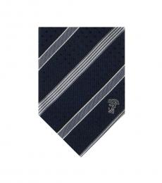 Versace Navy Grey Striped Tie
