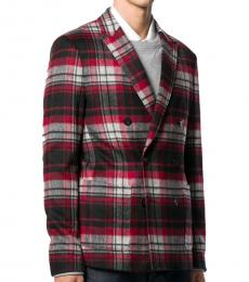 Maroon Check Double Breasted Jacket