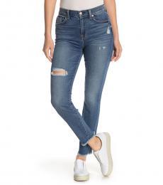 Denim High-Rise Fray Hem Jeans
