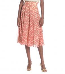 Peach Amora Leaf Print Skirt