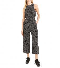 Michael Kors Black Printed Wide-Leg Jumpsuit