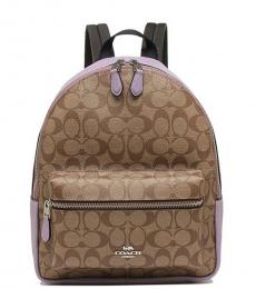 Khaki Lilac Charlie Medium Backpack