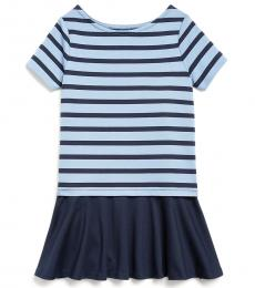 Ralph Lauren Little Girls Navy/Blue Striped Ponte Dress