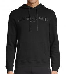 Karl Lagerfeld Black Logo Cotton-Blend Hoodie