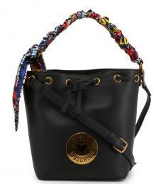 Black Graphic Handle Medium Bucket Bag