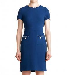 Blue Wave Piping Sheath Dress