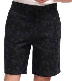 Black Linen Camo Shorts