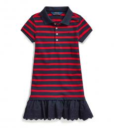 Ralph Lauren Little Girls Red/Hunter Navy Eyelet Polo Dress