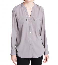 Calvin Klein Tin Mandarin Collar Zipper Top
