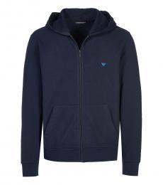 Dark Blue Solid Logo Zipper Jacket