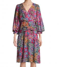 Lipstick Puff-Sleeve Print Dress