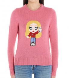 Chiara Ferragni Pink Cf Mascotte Cashmere Weater