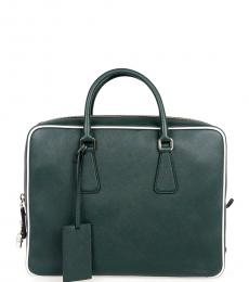 Prada Green Solid Large Briefcase Bag