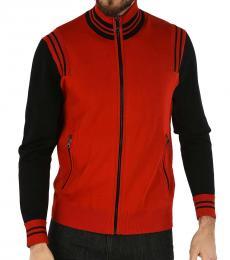 Neil Barrett Red Zipped Turtleneck Jacket