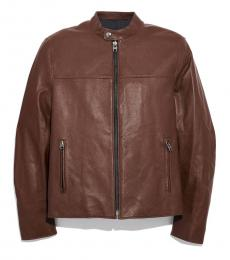 Coach Dark Fawn Leather Racer Jacket