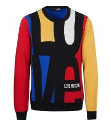 Love Moschino Multicolor Allover Logo Sweater