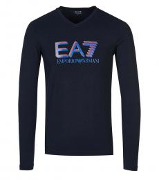 Navy Blue Logo Long Sleeve T-Shirt