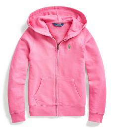 Ralph Lauren Girls Baja Pink Terry Hoodie