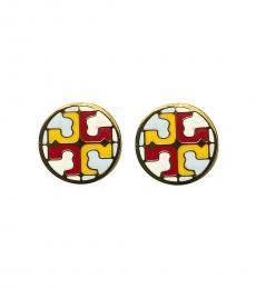 Tory Burch Multi-Color Gold Enamel Earrings