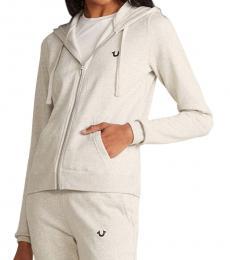 True Religion Heather Oatmeal Full-Zip Fleece Hoodie