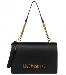 Love Moschino Black Logo Letter Large Shoulder Bag