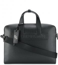 Emporio Armani Black Debossed Logo Large Briefcase Bag