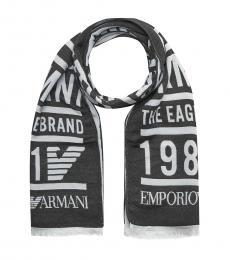 Emporio Armani Black Logo Scarf