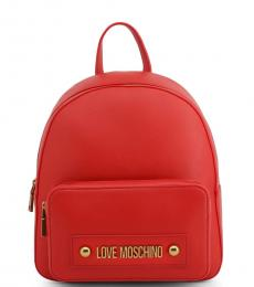 Love Moschino Red Solid Medium Backpack