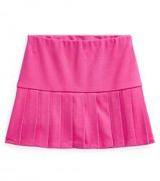 Ralph Lauren Little Girls College Pink Pleated Stretch Ponte Skort
