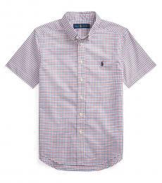 Ralph Lauren Boys Red Plaid Poplin Shirt