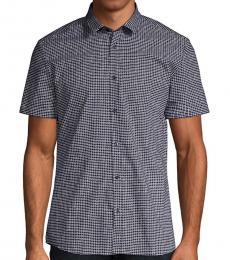 Navy Blue Slim-Fit Short-Sleeve Shirt