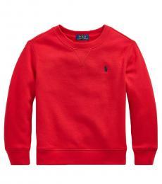 Ralph Lauren Little Boys Red Cotton-Blend-Fleece Sweatshirt