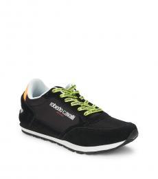 Roberto Cavalli Black Logo Lace-Up Sneakers