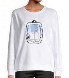 Karl Lagerfeld White Graphic Sweatshirt