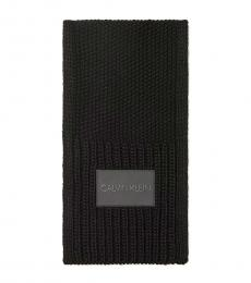 Calvin Klein Black Textured Stitch Logo Patch Scarf