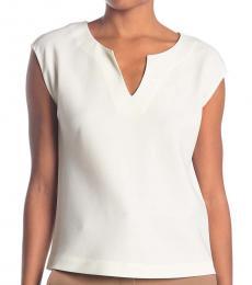 Diane Von Furstenberg Ivory Cap Sleeve Top