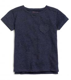 J.Crew Girls Navy Heart Pocket T-Shirt