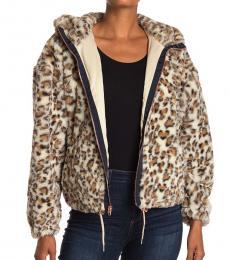 Beige Faux Fur Hooded Zip Jacket
