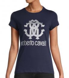 Navy Glitter Metallic Monogram Logo T-Shirt