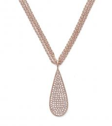 Rose Gold eardrop Triple Strand Necklace